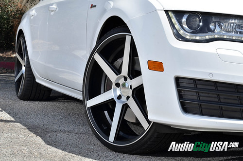 "2013 Audi A7 on 22"" AZAD Z84 black machine wheels 