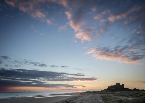 Dawn Sky at Bamburgh Castle and Beach
