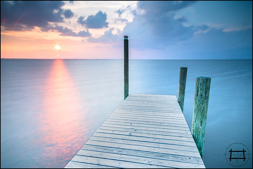 ocean longexposure sunset reflection water duck nc dock north timeexposure sound carolina outer banks obx the