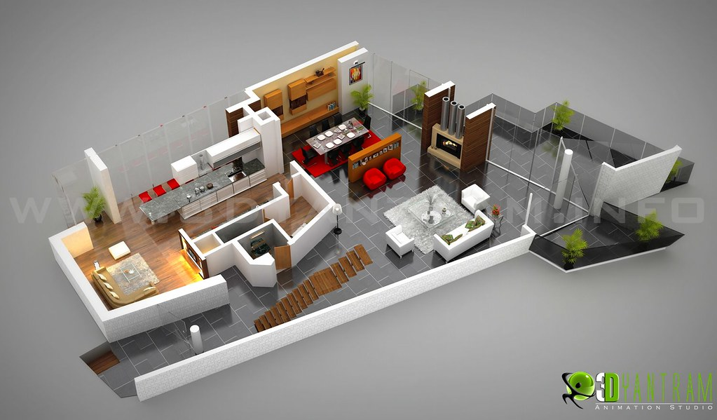 Amazing ... 3D Floor Plan Office Design Russia | By Yantram Architectural Rendering  U0026 3D Walkthrough