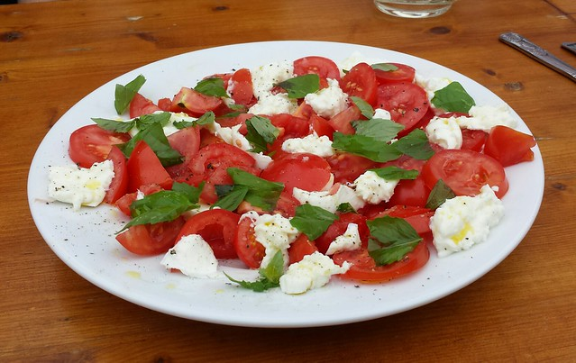 Homegrown Tomatoes and Buffalo Mozarella Salad with Cinnamon Basil and Extra Virgin Olive Oil