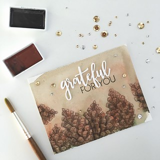 Grateful for you - watercolor and Concord & 9th stamps and dies | by Kimberly Toney