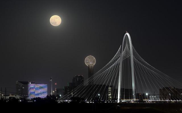 Hunt-Hill Bridge with Super Moon