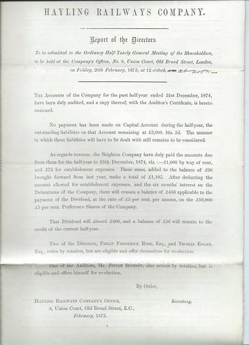 Hayling Railways Directors Report 1875   by ian.dinmore