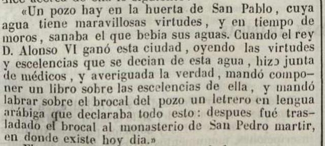 Cita del texto de Fray Román de la Higuera en el que cita el brocal de la mezquita aljama en el Semanario Pintoresco Español del 14 de mayo de 1848
