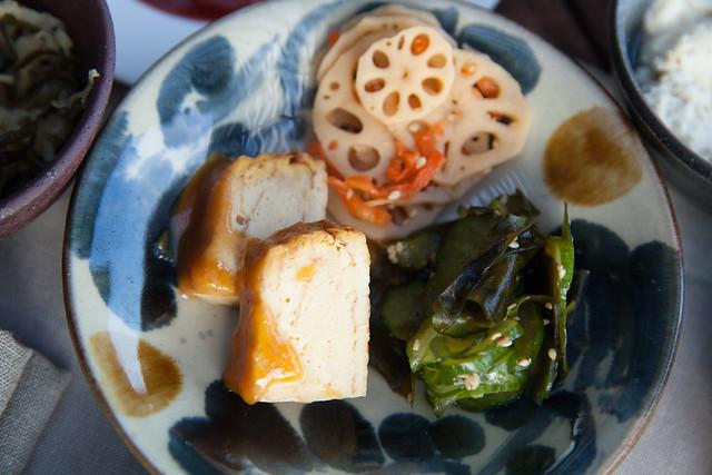 Stir fried lotus, marinated seaweed and Japanese rolled omelet oil miso dengaku at Gusuku's breakfast