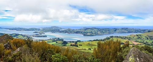 ocean sea newzealand sky panorama clouds landscape puerto mar harbour paisaje paisagem céu hills porto cielo nubes nuvens peninsula oceano photostitch novazelândia nuevazelanda colinas