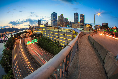 city longexposure sunset summer urban architecture canon lights downtown pittsburgh cityscape traffic pennsylvania fisheye pa streaks flares burgh libertybridge pittsburghatnight downtownpittsburgh westernpa parkwayeast 60d