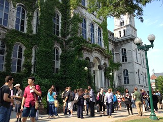 Students outside the Hall of Languages