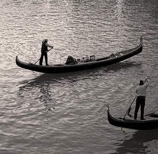 Rita Crane Photography: Evening Gondoliers near the Rialto Bridge, Venice