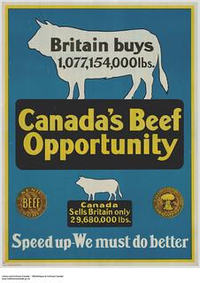 Canada Food Board sensitive campaign: Canada's Beef Opportunity / Campagne de sensibilisation de la Commission canadienne du Ravitaillement : L'industrie bovine canadienne – Des possibilités à exploiter