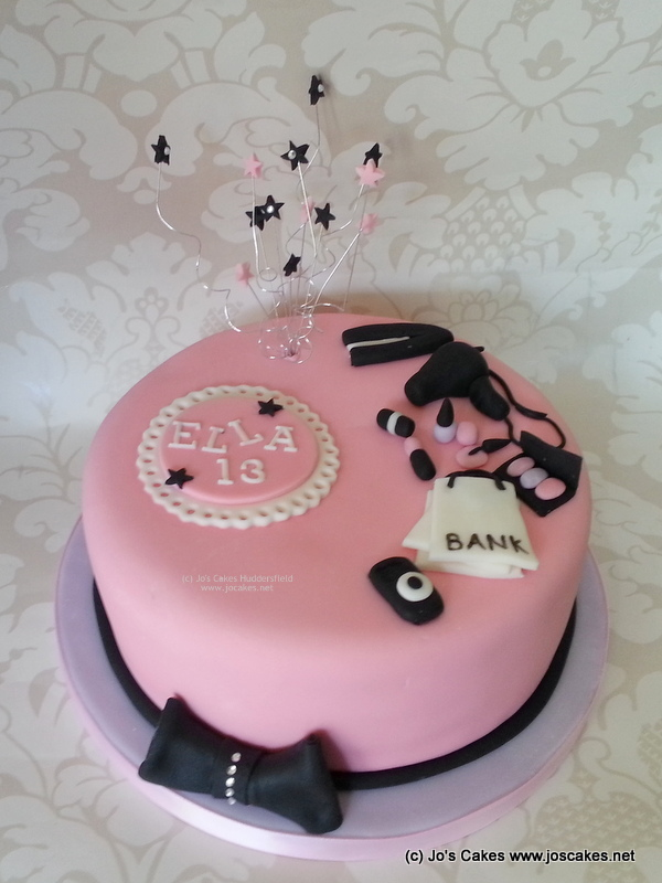 Pink And Purple Girly Sparkly 13th Birthday Cake Idea