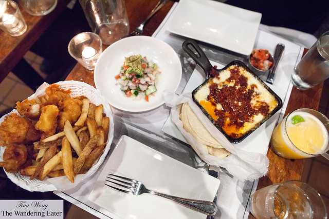 Our appetizers - Classic ceviche, Queso fundido with chorizo, and Shrimp & Chips