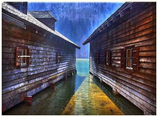 Bootshütten im Königssee