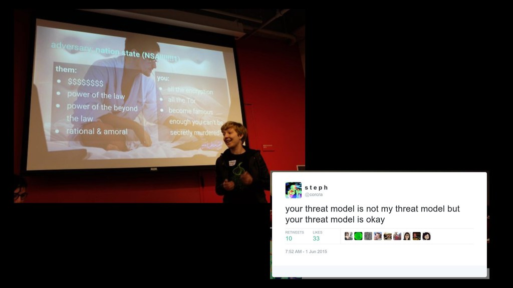Your threat model is not my threat model, but your threat model is ok