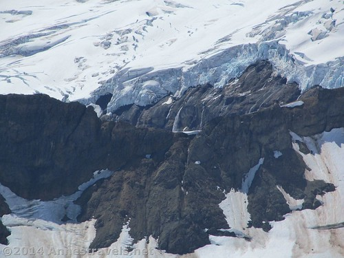 Close up of a waterfall below a glacier on Mt. Baker from the Ptarmigan Ridge Trail, Mount Baker Wilderness, Washington
