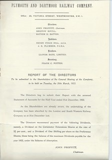 Plymouth and Dartmoor Railway Directors report 1923   by ian.dinmore