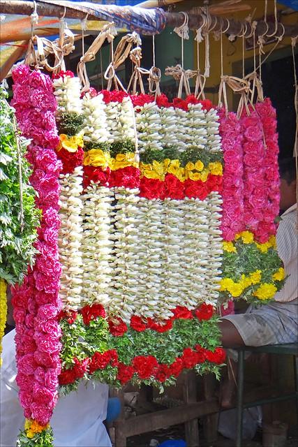 Le marché aux fleurs (Madurai, Inde)