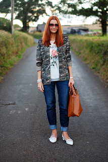 Camouflage jacket, boyfriend jeans | by Not Dressed As Lamb