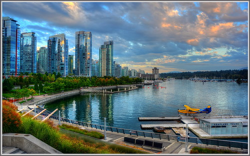 canada vancouver clouds sunrise harbor cityscape compression coal tone hdr seaplane coalharbor photomatix brittishcolumbia