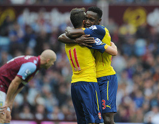 Mesut Ozil and Danny Welbeck of Arsenal
