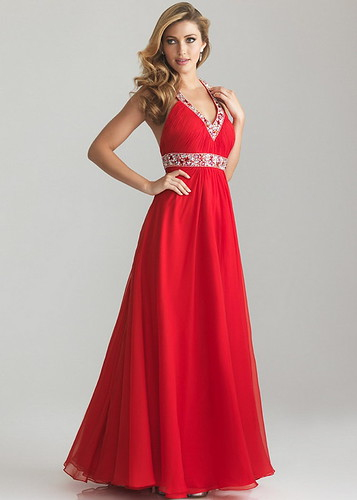 Red Pleated Long Beaded Waist Halter T-Strap Back Prom Dress   by alexandermarieguillemin