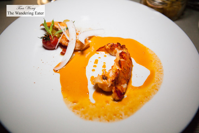 """""""Parfait"""" of blue lobster, coconut, curry, coral (as in unfertilized roe of lobster)"""
