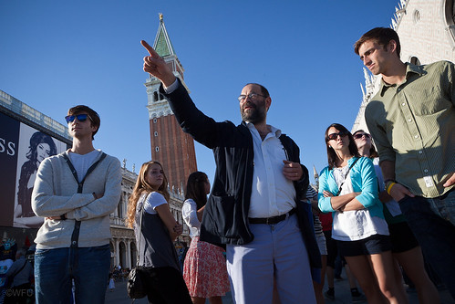 Students tour St. Mark's Square in Venice, Italy