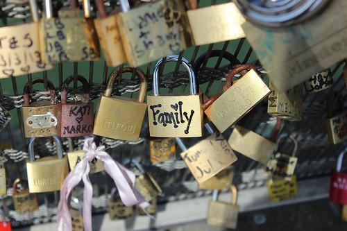 Locks on a bridge in Paris