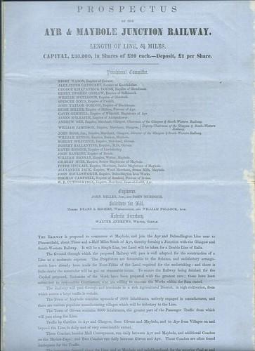 Ayr and Maybole Junction Railway Prospectus 1853   by ian.dinmore