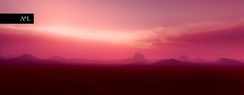purple red orange sunset glasshousemountains mountains wow
