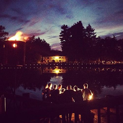 tradition camp fire candles light sunset lake berkshires eisnercamp rlbphotography beckybarnett