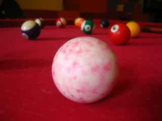 Red Pool Table & White/Pink Cue Ball Macro | by qubodup