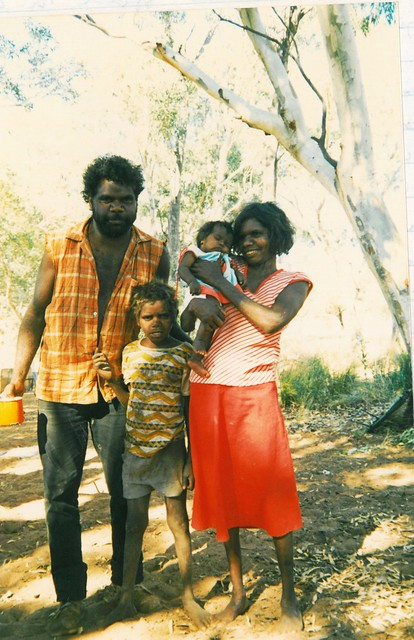 Nganyintja's son Sam with wife Cecilia and children Michael and Rosanna