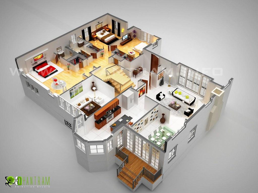 Dream home 3d floor plan design france 3d 2d for Dream house 3d