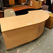2 section beech curved reception desk