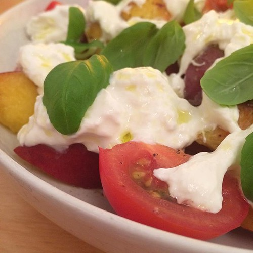 Tamatoes and peaches with burrata and basil. | by adactio
