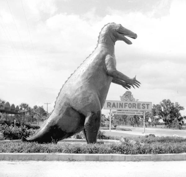 Dinosaur sculpture at Rainforest - Sumterville