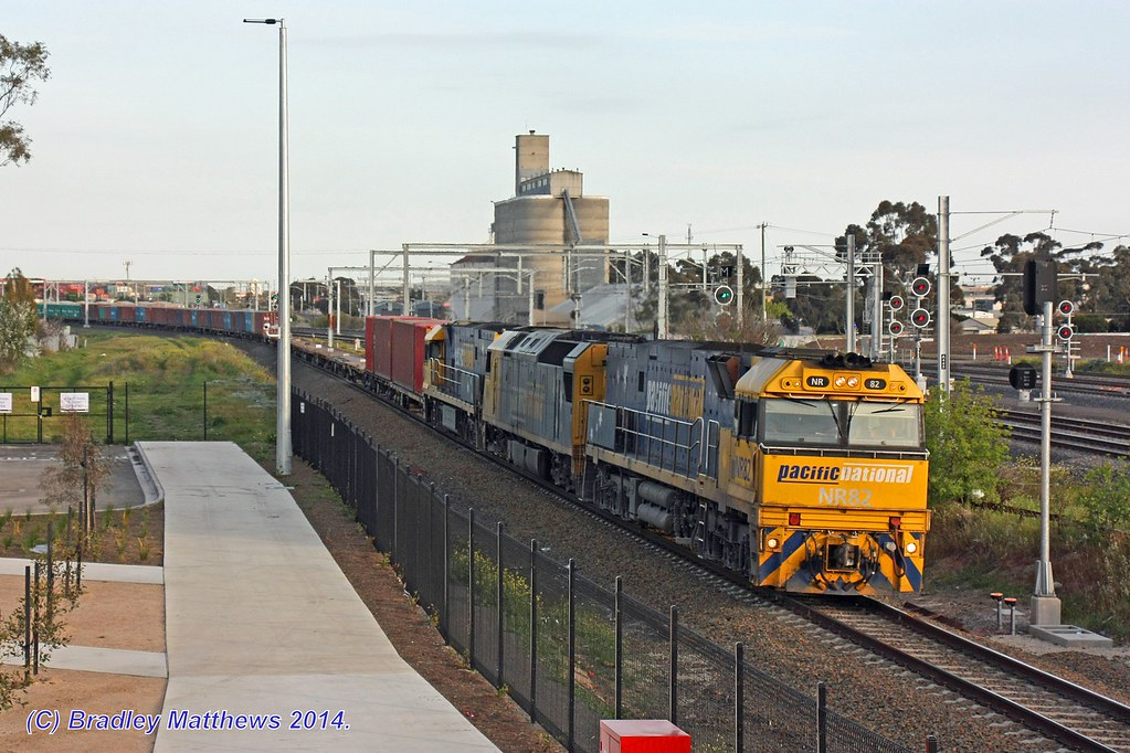 NR82-AN4-NR114 with 7MC2 freight to Junee/Griffith at Sunshine (13/9/2014) by Bradley Matthews