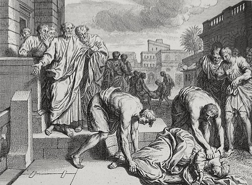 Luke in the Phillip Medhurst Collection 603 The death of Sapphira Acts 5:1-10 Dutch Bible