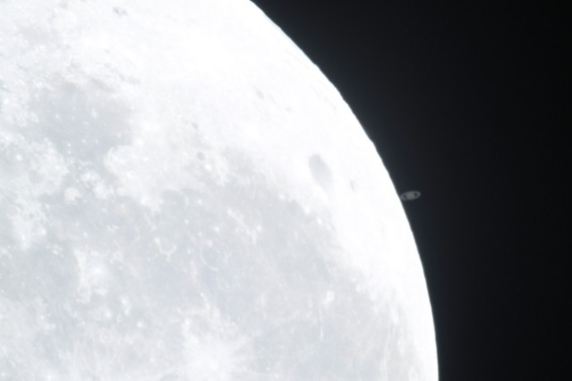 Saturn getting extremely close to occult the Moon