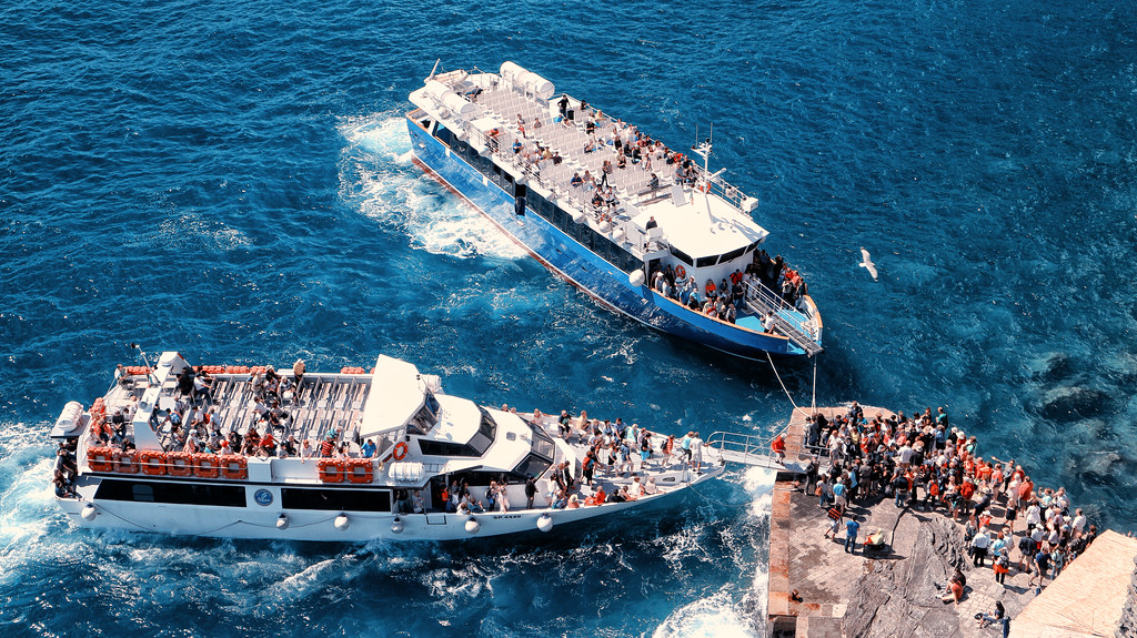 Ferries at Vernazza. Italy