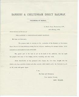 Banbury & Cheltenham Direct Railway, Engineers report to the directors on progress building the railway 1876 | by ian.dinmore