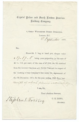 Crystal Palace and South London Junction Railway interest letter 1875   by ian.dinmore