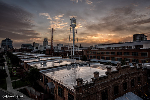 roof sky usa tower clouds sunrise us nc downtown durham luckystrike shimmer blueyellow americantobacco d810