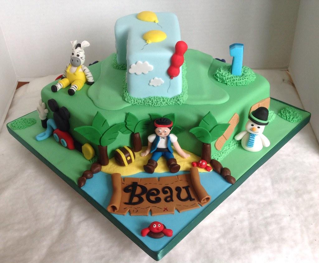 Excellent Disney Themed 1St Birthday Cake Liz Flickr Funny Birthday Cards Online Inifodamsfinfo