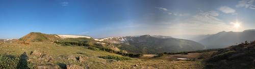 shadow panorama mountains clouds sunrise landscape haze colorado hiking smoke winterpark cirque cornice parrypeak mtrussell twincones currentcreek russellmountain mounteva russellpeak vasquezpeakwilderness