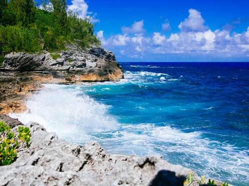 ocean park blue summer vacation green rocks waves olympus panasonic shore bermuda 20mm omd paget em10 lumix17