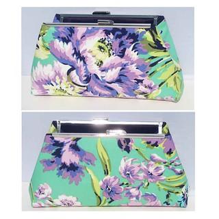 mint purple floral clutch