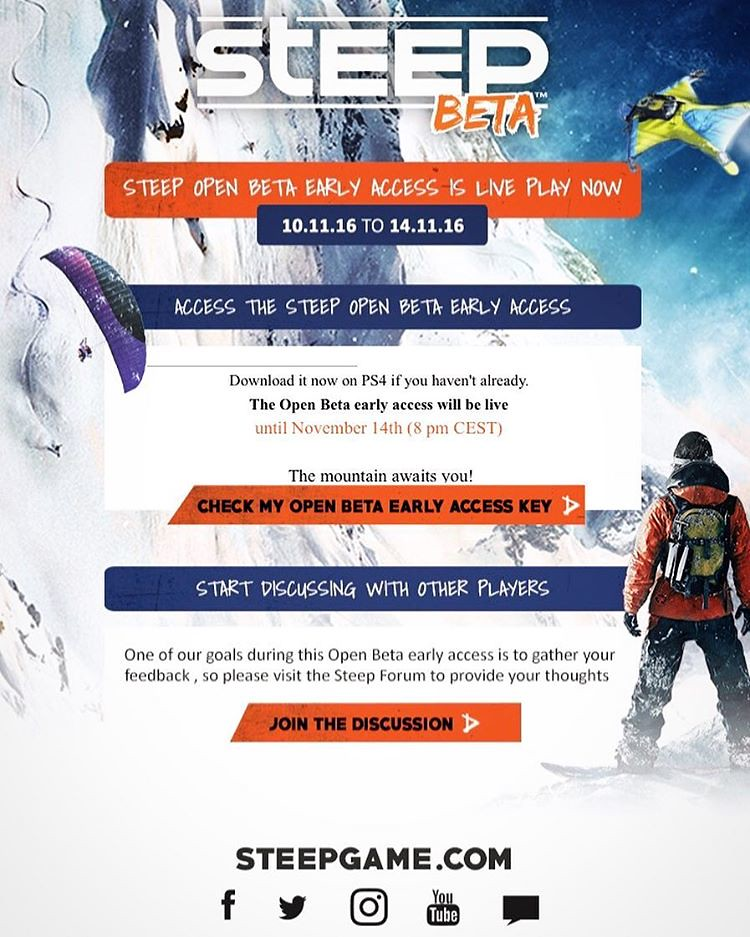 I got my Steep - Open Beta early access key for PS4  Thank… | Flickr